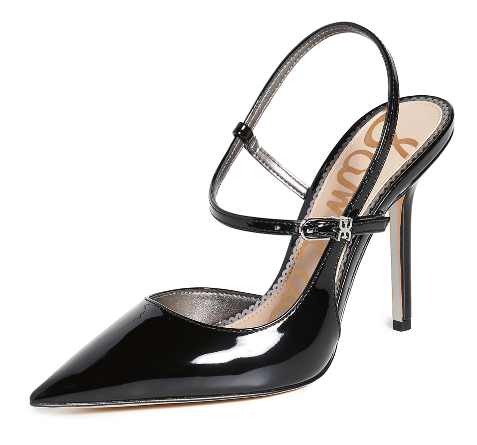 Sam edelman Black Patent Shoes. Black Patent Mother of the bride Shoes. Black High Heel Shoes. Black Patent shoes for summer races. Black Patent Shoes for the Races. Shoes to wear with a Black Dress. High Street Budget Black shoes 2020.