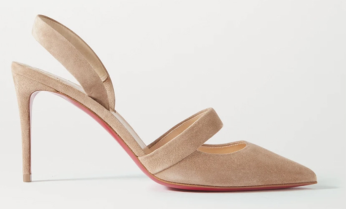 Christian Louboutin Actina Shoes 2021. Natural Colour Suede Shoes 2021. Nude colour Shoes for the Races. Ladies Day outfit ideas 2021. Christian Louboutin Nude Shoes 2021. Shoes to wear with a natural colour dress. Nude tone Royal Ascot outfit ideas 2021. Natural colour Mother of the bride Shoes 2021.