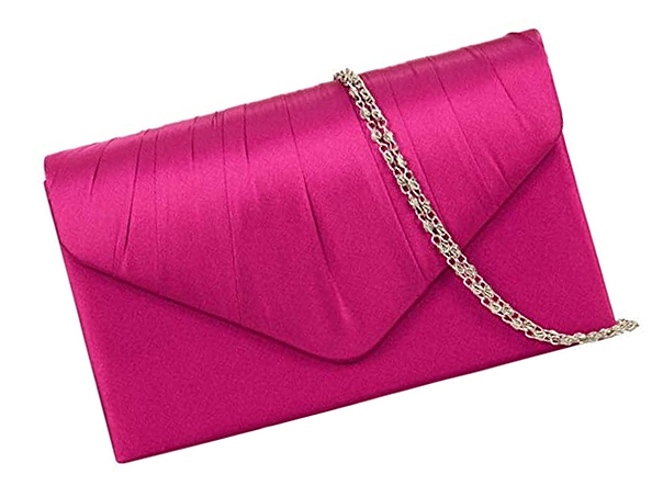 Fuchsia Pink Satin Clutch Bag. Hot Pink Satin Clutch Bags 2020. Bright Pink Clutch for Royal Ascot. What to wear with a Pink Dress. Hot Pink Satin Mother of the Bride Bags 2020.