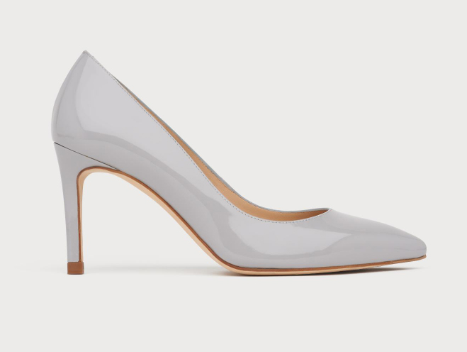Lk Bennett court shoes. LK Bennett grey court shoes. Ultimate Grey Court shoes for Mother of the Bride 2021. Shoes in Pantone Color of the Year Ultimate Grey 2021. Grey Patent Court Shoes. Grey Court Shoes for Royal Ascot 2021.