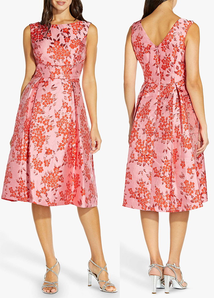 Floral Coral Dress 2021. Coral Floral Mother of the Bride Dress 2021. Coral Floral Jacquard Mother of the Bride Dress 2021. Coral Dress for a Summer Wedding Guest 2021. Coral Dress 2021. Dress for Royal Ascot Races 2021. What to wear to the Races 2021. Royal Ascot outfit ideas 2021.
