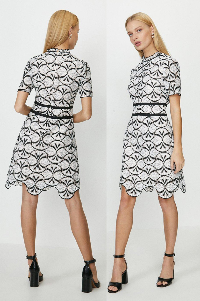 Black and White Dress for Royal Ascot 2021. Black and White dress for the Races 2021. Black and White Floral Dress 2021. Dress for a Spring Summer Wedding Guest 2021. Dress to wear to the races 2021. Royal Ascot outfit ideas 2021.