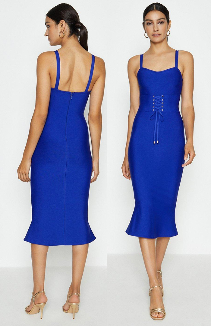 Royal Blue Bandage Dress. Royal Blue Dress for Royal Ascot 2021. Royal Blue Bodycon Dress. Royal Blue outfit for the races. Royal Blue outfit inspiration. Royal Blue Wedding Guest outfits 2021.