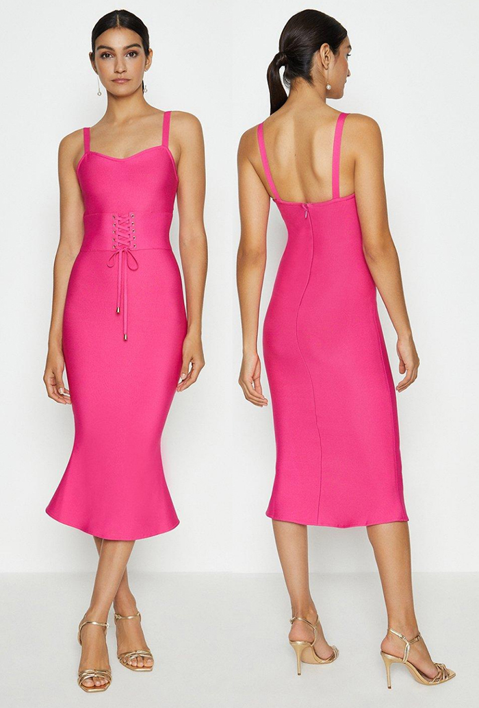 Hot Pink Bandage Dress. Bright Pink Dress for the Races 2021. Bright Pink Dress 2021. What to wear for the Races 2021. Bright Pink outfit ideas 2021.