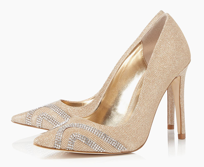 Champagne Gold and Crystal Shoes for Winter Wedding 2020. Gold shoes to wear to the races. Shoes to wear with a champagne gold dress. Gold Royal Ascot outfit ideas 2021. Gold Mother of the bride shoes 2020. Champagne Gold Bridesmaids Shoes.