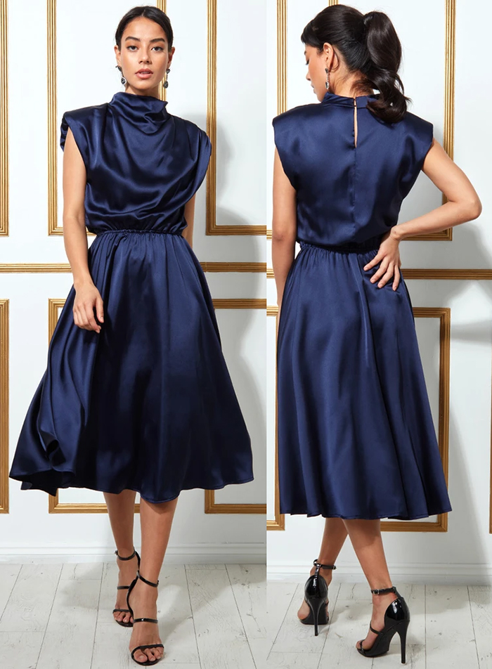 Navy Satin Dress 2021. Navy Dress for Wedding Guest 2021. Navy Blue Midi Dress 2021. Navy Dress for the Races 2021.