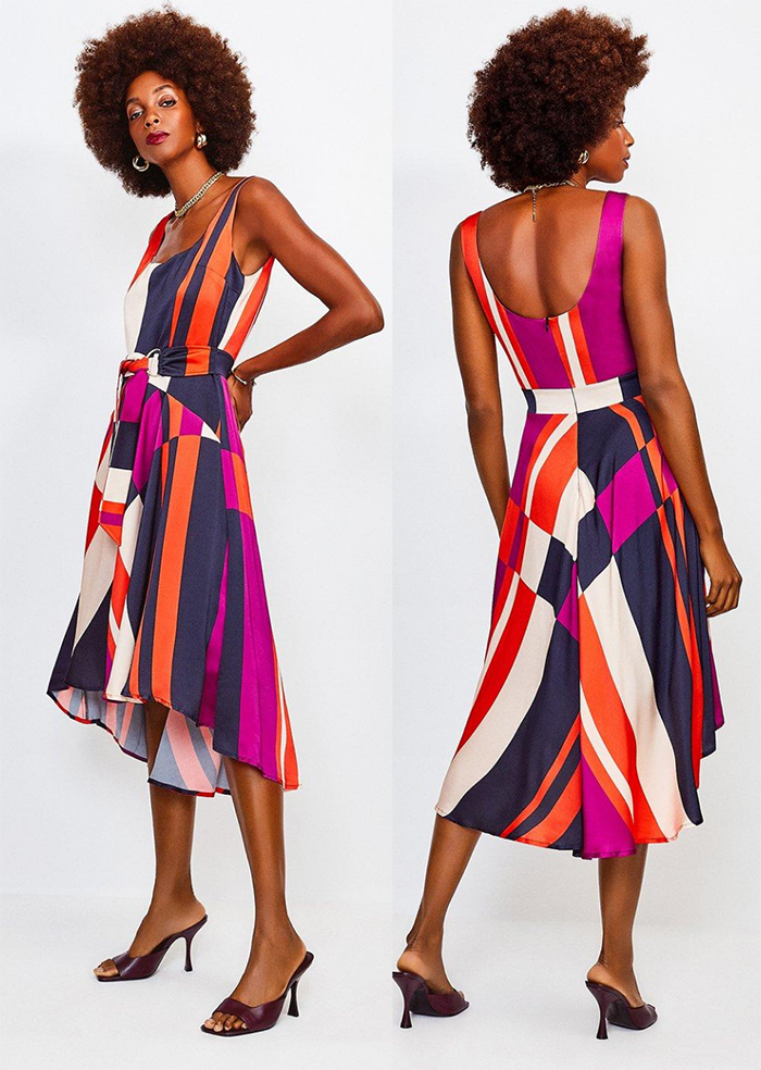 Karen Millen Dress 2021. Dress for Royal Ascot Races 2021. What to wear for a Summer Wedding 2021. What to wear for Royal Ascot 2021. Colourful Dress for Spring Summer Wedding Guest 2021. Bright Dress for Royal Ascot 2021.