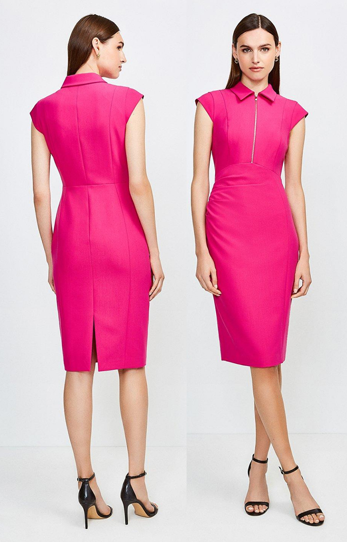 Karen Millen Hot Pink Fitted Dress. Karen Millen Fitted Dresses. Karen Millen Dresses 2021. Fuchsia Pink Dress for the races 2021. Fuchsia Dress for Spring wedding guests 2021. Hot Pink outfits for Royal Ascot 2021. What to wear for Royal Ascot 2021.