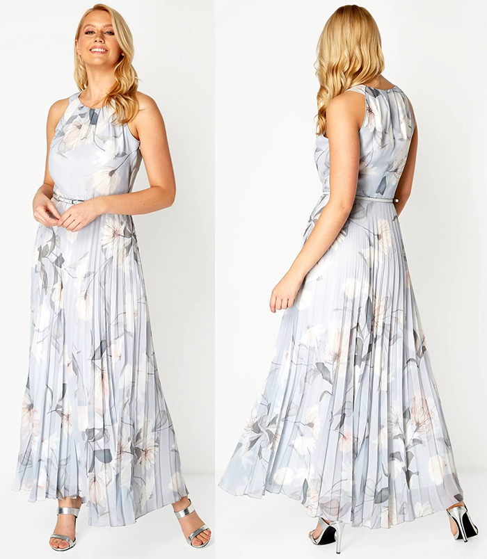 Pleated Floral Maxi Dress for wedding Guest 2021. Dress for a Spring Summer wedding Guest 2021. Wedding Guest outfit ideas 2021. Dresses for Royal Ascot 2021. Dresses to wear to the Races 2021. Floral Maxi Dress 2021. What to wear to Royal Ascot Races.