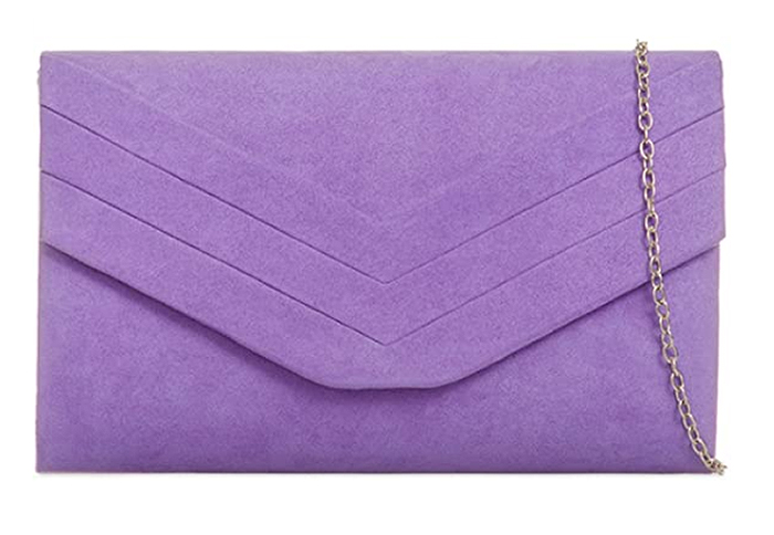 Lilac Purple Clutch Bag 2020. Bag to wear with a Lilac Dress 2020. Lilac Outfits for the Races 2020. Lilac Royal Ascot outfit ideas 2021. Lilac Bag for Mother of the Bride 2021.