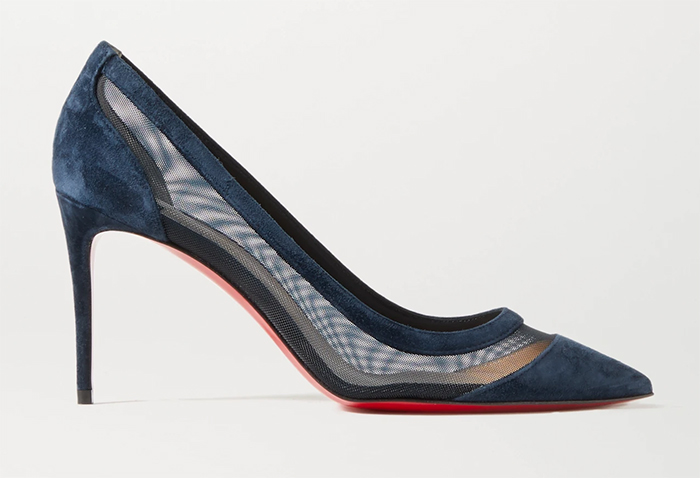 Shoes to wear with a Navy Dress. Navy Mother of the Bride Shoes 2021. Navy Shoes for Royal Ascot 2021. Royal Ascot Outfit ideas 2021. Christian Louboutin Galativi Navy Shoes. Navy Shoes for a Spring Wedding Guest 2021.