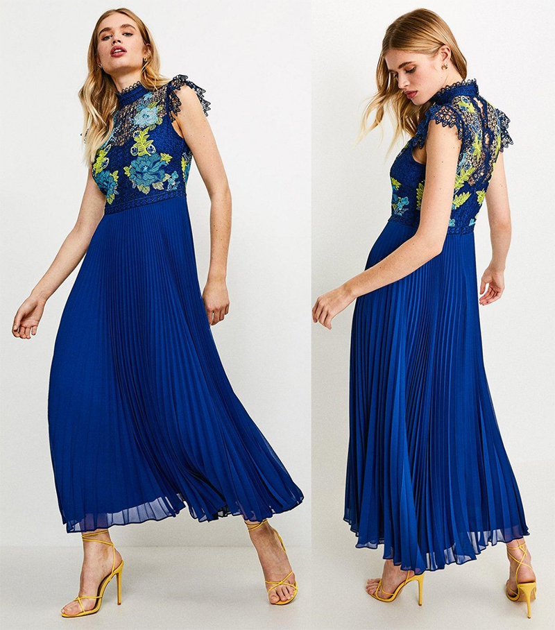 Karen Millen Pleated Midi Dress 2021. How to wear Teal Green 2021. Royal Blue Pleated Dress 2021. Teal and Royal Blue outfits 2021. Floral Dress for Summer Wedding Guest UK 2021. Teal dress for Summer Wedding guests 2021. Pleated Dress for Royal Ascot 2021. Dresses for Royal Ascot 2021.