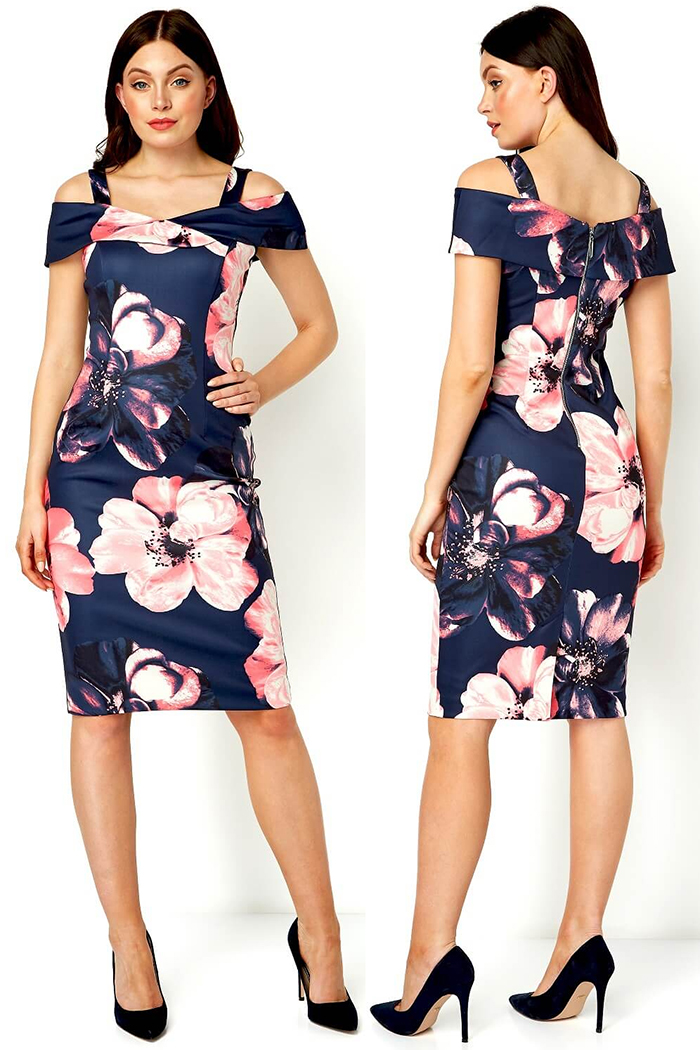 Floral Dress for Spring Wedding 2021. What to wear for a Spring wedding. Floral Scuba Dress. Dress to wear to the races. Floral Dress for a Summer Wedding Guest 2021. Dress for Royal Ascot Races 2021. Navy Mother of the Bride Dress 2021. Royal Ascot outfit ideas 2021.