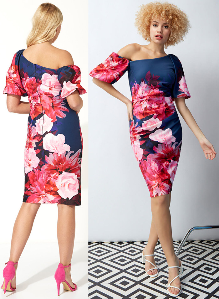 Floral Dress for Wedding Guest 2021. What to wear for a Spring Wedding 2022. What to wear for a Summer Wedding 2021. Floral Scuba Dress. Dress with Pink Flowers. Pink Floral Dress. Dress to wear to the Races 2021. What to wear to the Races 2021.