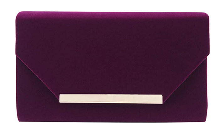 Purple Velvet Clutch Bag. Purple Mother of the bride Clutch Bag. Purple Clutch Bags. Purple Clutch Bag for the Races 2021. What to wear with a Purple Dress. Purple Velvet Clutch for Winter wedding Guest 2020. Purple Mother of the Bride outfits 2020.