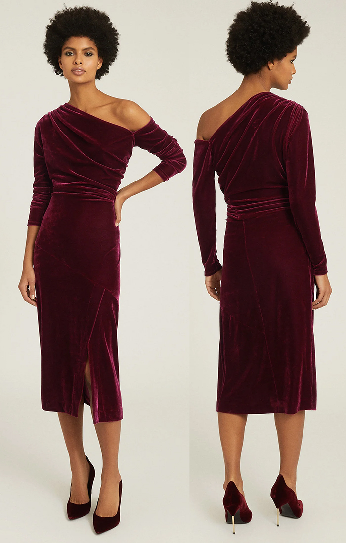 Burgundy Velvet Dress for Winter Wedding 2020. Burgundy Velvet Shift Dress. Burgundy Velvet Fitted Dress. Burgundy Velvet Dress for Christmas Party 2020. What to wear to a January Wedding 2021. What to wear for a February wedding 2021. Dress for Cheltenham Races 2021. What to wear to Cheltenham Races 2021.