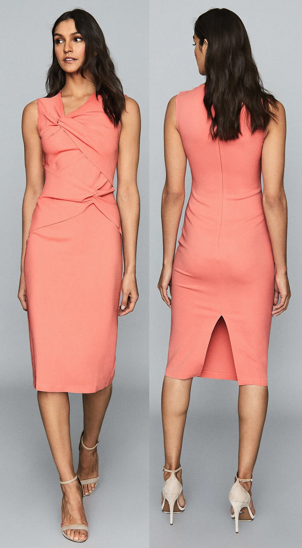 Coral Fitted dress for the Races. Coral Mother of the Bride Dress 2021. Dresses that you can wear in the Royal Ascot Royal Enclosure 2021. Royal Ascot 2021 Style Guide. What to wear for a Summer Wedding 2021. Coral Dress to wear to a Wedding 2021. Ideas for Summer wedding guest outfits 2021. What to wear for Royal Ascot 2021.