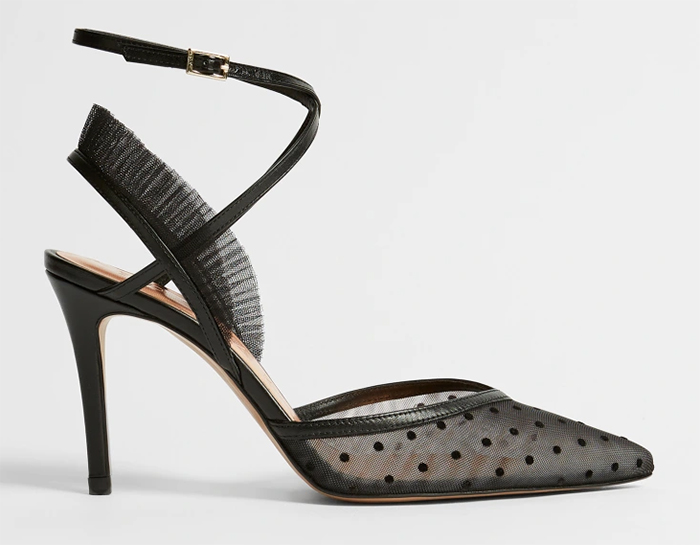 Ted Baker Black High Heel Ladies Shoes 2021. Black shoes for the races 2021. Ted Baker Juniie Shoes. Black Polka Dot Shoes for Wedding guests 2021. Polka Dot fashion for Royal Ascot 2021. Black Polka Dot Mother of the Bride Shoes 2021. Shoes to wear with a black and white dress 2021.