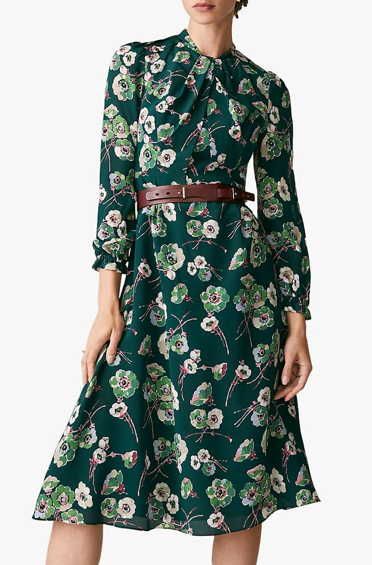 The Fold Dress for Mother of the Bride 2021. Floral Dress for Mother of the Bride 2021. Dress to wear with Blush Pink Hat. Dresses for Royal Ascot 2021. Outfit ideas for Royal Ascot 2021. The Fold London Haslemere Dress. Silk Dress for a Wedding Guest 2021. Outfit ideas for Spring Summer Wedding Guest 2021.