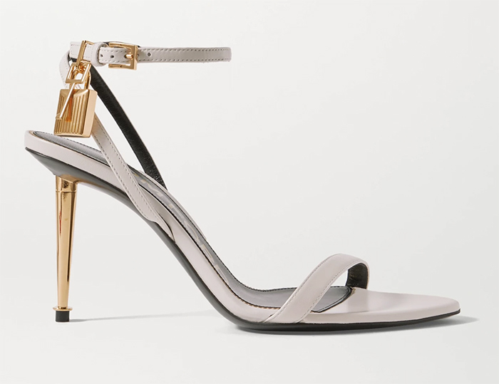 Tom Ford Padlock Sandals. Shoes to wear with a White Dress. Shoes for Royal Ascot 2021. Royal Ascot Outfit ideas 2021. Shoes for the Races. White and Gold shoes. White High Heel Shoes 2021. Spring fashion outfit ideas 2021.