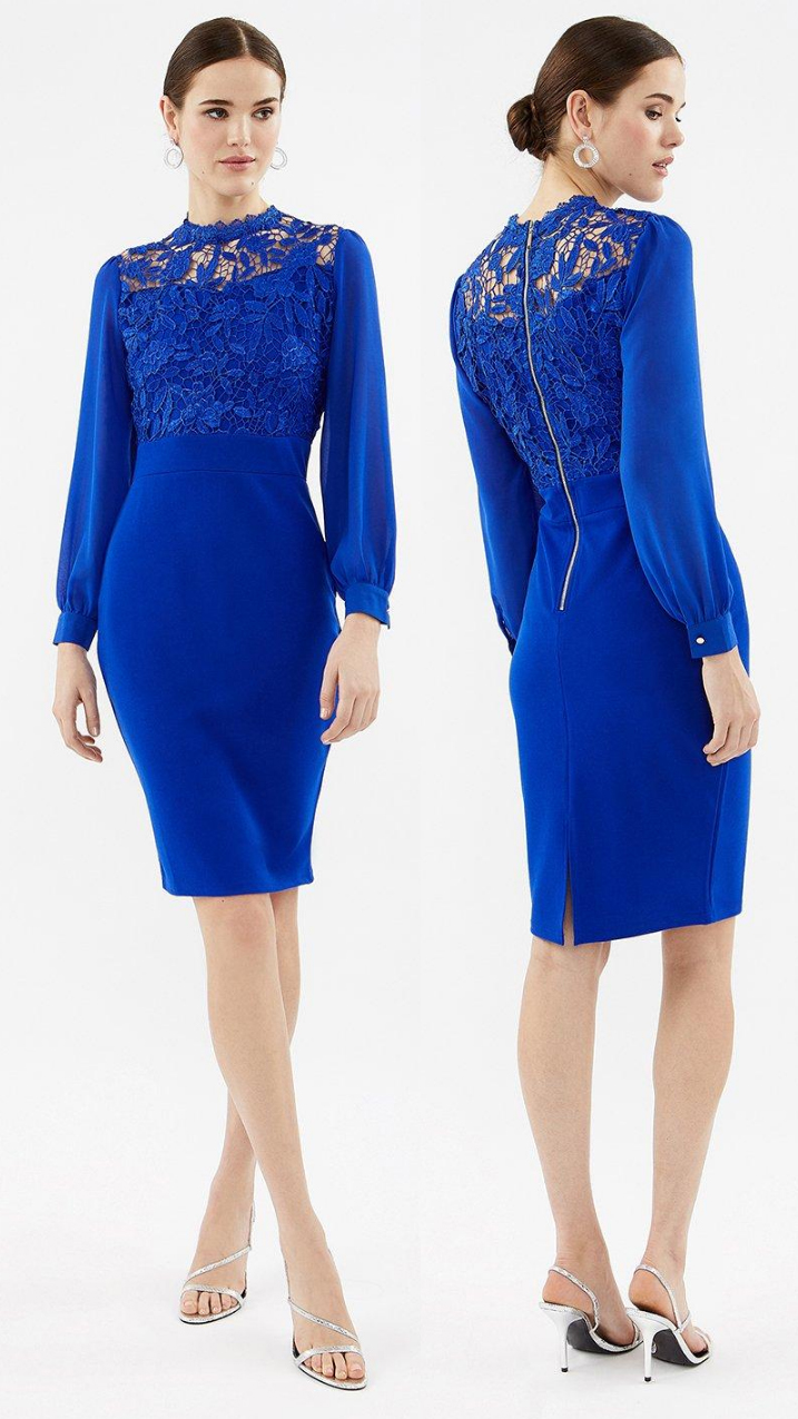 Royal Blue Bandage Dress. Royal Blue Mother of the Bride Dress 2021. Royal Blue Dress for Royal Ascot 2021. Royal Blue Bodycon Dress 2021. Royal Blue outfit for the races 2021. Royal Blue outfit inspiration. Royal Blue Wedding Guest outfits 2021.