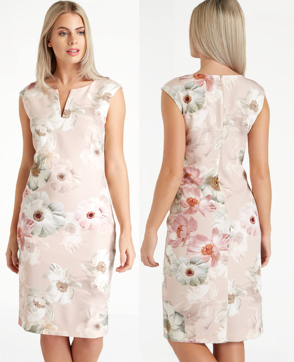 Low price blush dress 2021. Blush Pink Mother of the Bride dress 2021. Blush Pink Dress for a wedding guest 2021. What to wear for a Summer wedding 2021. Floral Dress for Sumer Wedding 2021. Blush Pink dress for Royal Ascot 2021.