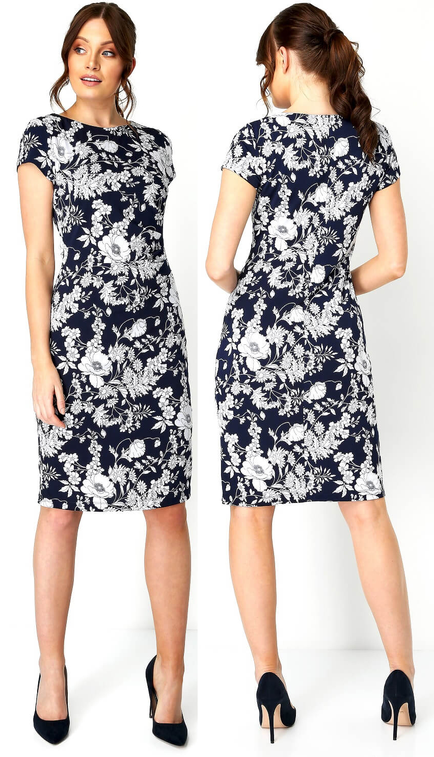 Navy and White Floral Dress 2021. Navy Dress for Royal Ascot Races 2021. What to wear for a Summer Wedding 2021. What to wear for Royal Ascot 2021. Floral Dress for Spring Summer Wedding Guest 2021. Floral Dress for Royal Ascot 2021.