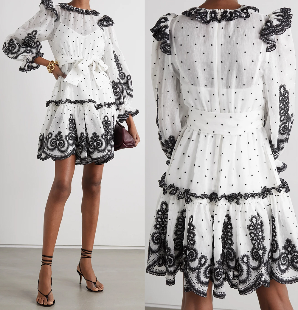 Black and White Dress for the races 2021. Black and White dress for Summer 2021. Zimmermann Black and White Lace Dress. Zimmermann Lovestruck Dress 2021. Zimmermann Dress for a Summer Wedding Guest 2021. Dress to wear to the races 2021. Monochrome outfits 2021.