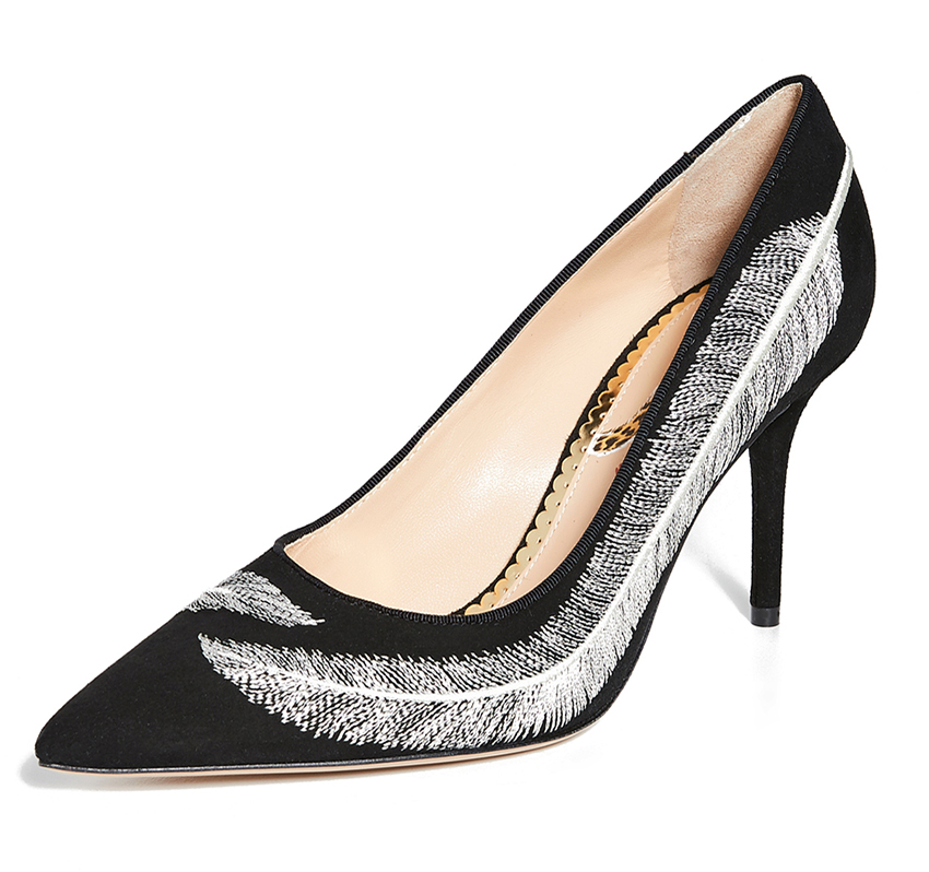 Charlotte Olympia Black and White Feather Shoes. What to wear with a Black and White Dress. Shoes for Ladies Day at the Races. Charlotte Olympia Shoes 2020. Royal Ascot Outfit Ideas. High Heel Black and White Shoes. Pretty Shoes for a wedding guest. Black and White Shoes for Royal Ascot 2020. Shoes to wear for Royal Ascot 2020.