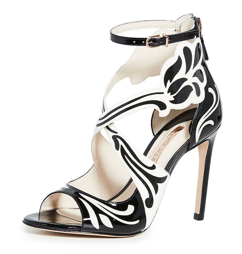 Sophia Webster Black and White Shoes. What to wear with a Black and White Dress. Shoes for Ladies Day at the Races. Royal Ascot Outfit Ideas. High Heel Black and White Shoes. Pretty Shoes for a wedding guest. Black and White Shoes for Royal Ascot 2020. Shoes to wear for Royal Ascot 2020.