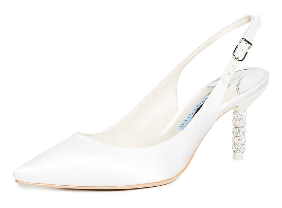 Sophia Webster White Shoes with crystals. White Mother of the bride shoes. Sophia Webster Bridal Shoes. Sophia Webster Crystal shoes. White shoes to wear to the races. White Bridal Shoes 2020. White Wedding shoes 2020.