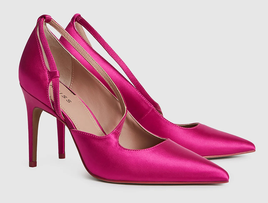 Reiss Hot Pink Shoes. Hot Pink Heels. Hot Pink Shoes for Royal Ascot. What to wear with a Pink Dress. Hot Pink Mother of the Bride Shoes 2020.