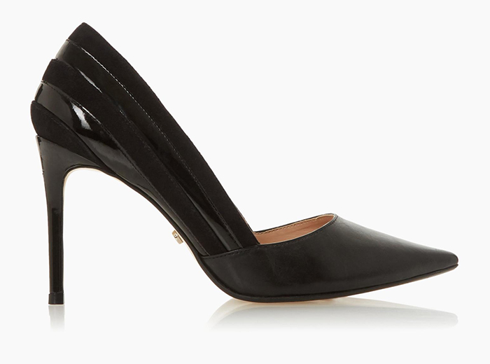 Dune Black High Heel shoes 2020. Black on trend shoes 2020. Black Court shoes to wear to the races. Shoes to wear with a black Dress. Summer wedding guest outfits 2020.