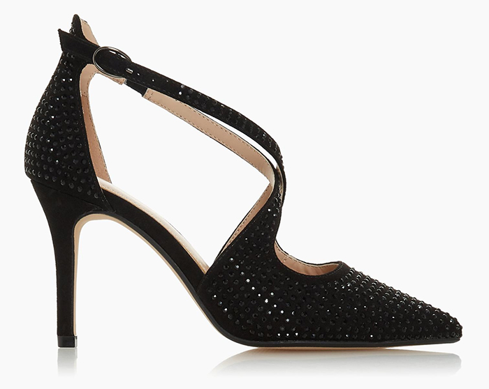 Dune Black Crystal Shoes. Black Shoes with Crystals 2020. Black High Heel shoes for summer 2020. Black Shoes to wear to the races. Pretty Shoes to wear with a Black dress 2020. Shoes to wear with a black Royal Ascot outfit 2020.