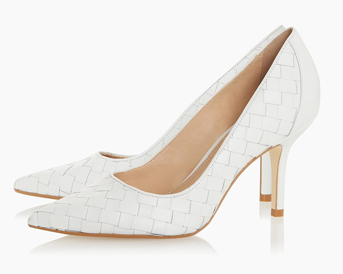 Dune White shoes 2020. White medium heel shoes 2020. Shoes to wear to the races 2020. Shoes to wear with a White Dress. Royal Ascot outfits 2020.