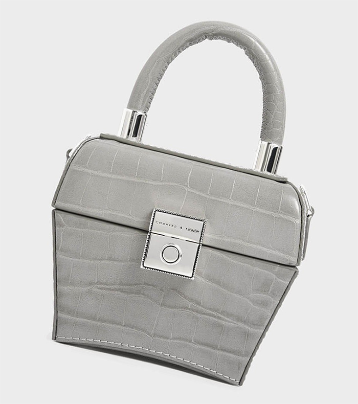 grey Top Handle Mini Bag. Handbags for to the races. Handbags to wear with a grey dress. Royal Ascot outfit ideas 2021. Minibags on trend for Summer 2021. Summer 2021 trends.