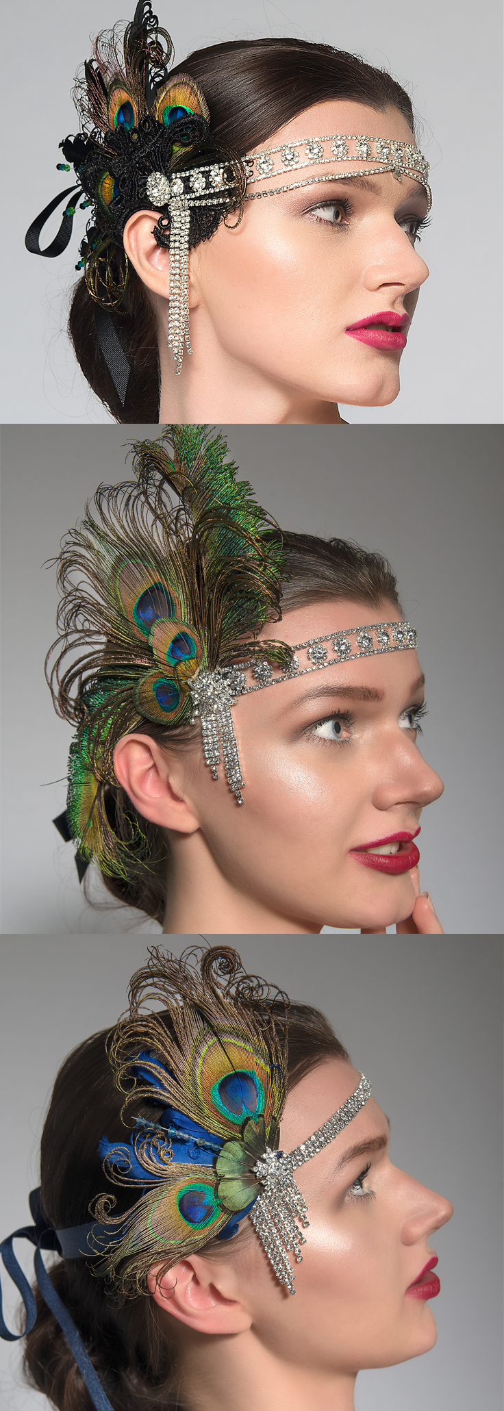 Flappergirl Headbands with Peacock Feathers and Crystals. Perfect for Gatsby Party, Jazz Era Theme Parties, Halloween and Christmas, New Years Eve, Birthday Parties. Dopwnton Abbey, Roaring Twenties Millinery