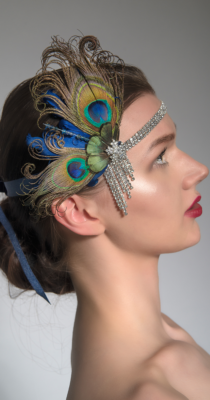 Handmade Designer Jazz Age Flapper Headbands Headpieces. Peacock, Swarovski Crystal and Rhinestone Gatsby Downton Abbey Vintage inspired headwear. 1920s Roaring 20s theme Christmas Parties, Halloween, New Years eve and Birthday party ideas. #millinery #flappergirls #jazzagelawnparty #jazzage #fashion #fashionista #artdeco #downtonabbey #christmas #fascinators #frocktober #fashionaddict #blackfriday #cybermonday #halloween #partywear