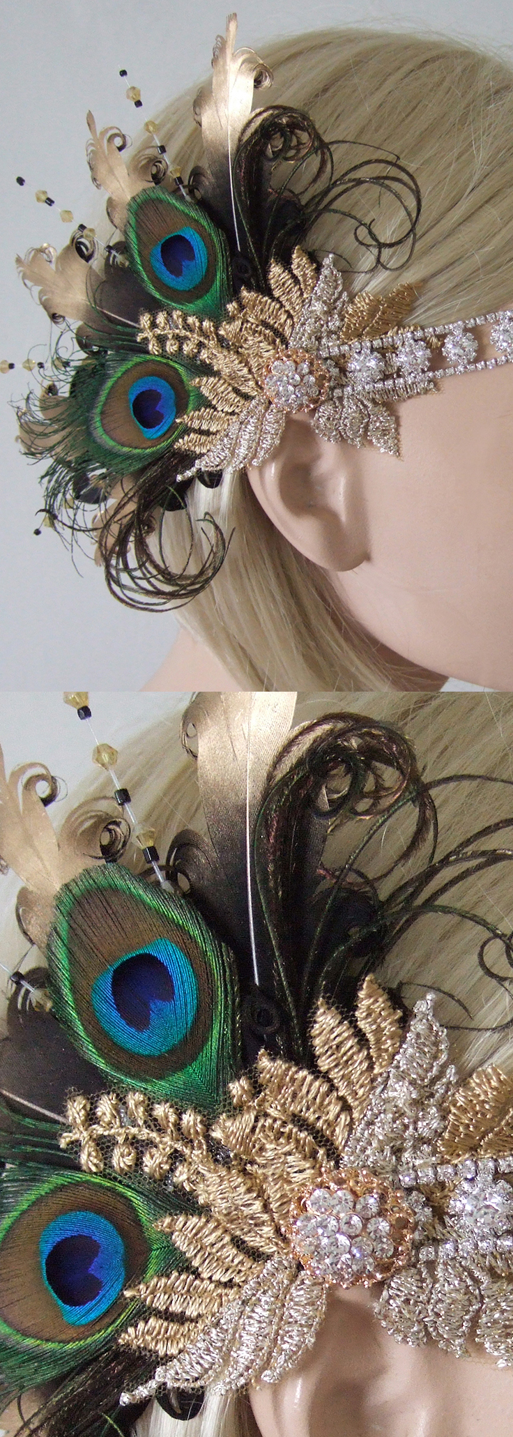 Ladies Gatsby Peacock Feathers Gold Black Party Headband Headpiece, perfect for Halloween, Weddings, Christmas, New Years Eve or Birthday parties with Vintage 1920s Flappergirl Gatsby Theme. Downton Abbey theme. #millinery #peacock #fashionista #bridal