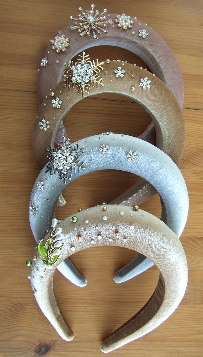 Padded Headbands, Wide Headbands. Headbands for Autumn Wedding Guests. Winter Wedding Accessories. Hair accessories for Winter Wedding Guests. Thick Padded Velvet Headbands. Embellished Headbands 2020.